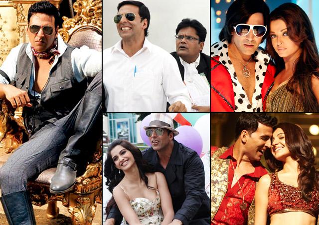 Akshay Kumar in a still from movie Tees Maar Khan (2010), Khatta Meetha (2010), Action Replayy (2010), Thank You (2011) and Patiala House (2011)