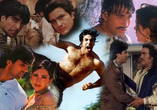 Akshay Kumar in a still from movie Sabse Bada Khiladi (1995), Khiladiyon Ka Khiladi (1996), Tu Chor Main Sipahi (1996), Sapoot (1996) and Maidan-E-Jung (1995)