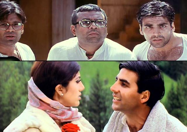 Akshay Kumar in a still from movie Hera Pheri (2000) and Dhadkan (2000)