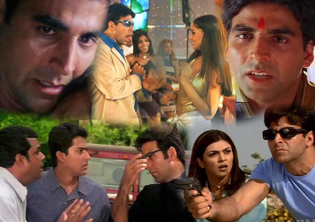 Akshay Kumar in a still from movie Ajnabee (2001), Awara Paagal Deewana (2002), Aankhen (2002), Haan Maine Bhi Pyaar Kiya (2002) and Talaash: The Hunt Begins... (2003)
