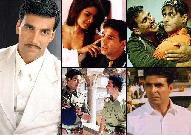 Akshay Kumar in a still from movie Ab Tumhare Hawale Watan Saathiyo (2004), Aitraaz (2004), Mujhse Shaadi Karogi (2004), Khakee (2004) and Aan: Men at Work (2004)