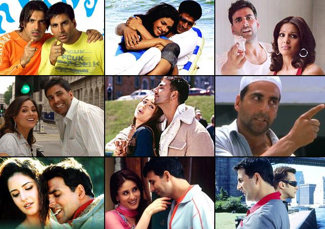 Akshay Kumar in a still from movie Garam Masala (2005), Waqt: The Race Against Time (2005), Phir Hera Pheri (2006), Bhagam Bhag (2006), Bewafaa (2005), Insan (2005), Humko Deewana Kar Gaye (2006), Dosti: Friends Forever (2005) and Jaan-E-Mann (2006)