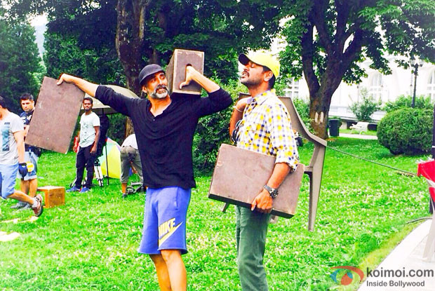 Akshay Kumar & Prabhu Dheva on the sets of Singh Is Bliing in Romania