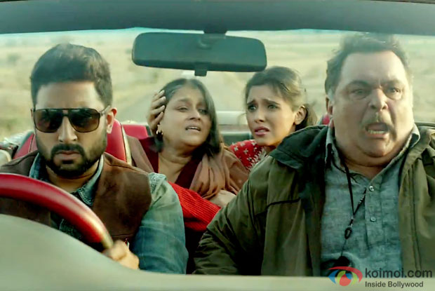 Abhishek Bachchan, Supriya Pathak, Asin and Rishi Kapoor in a still from movie 'All Is Well'