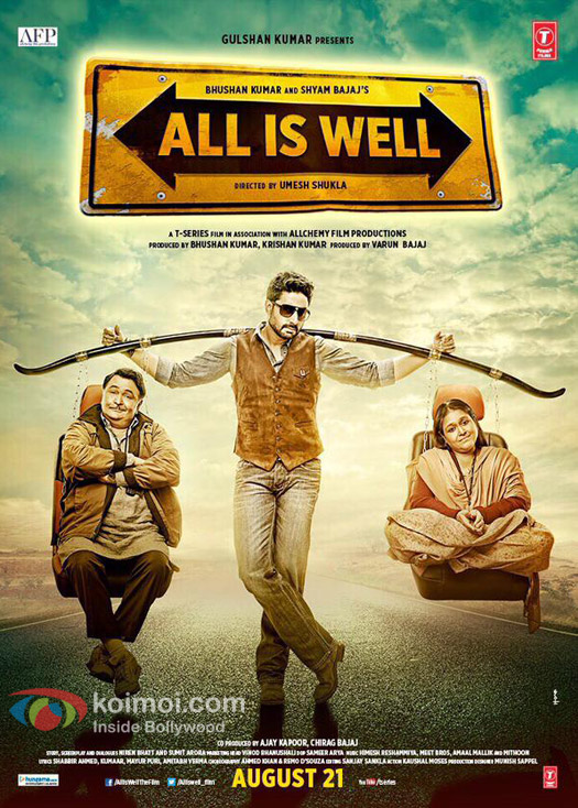 Rishi Kapoor, Abhishek Bachchan & Supriya Pathak in a still from 'All Is Well' movie poster
