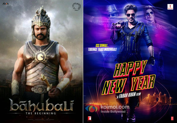 Bahubali and Happy New Year Movie posters