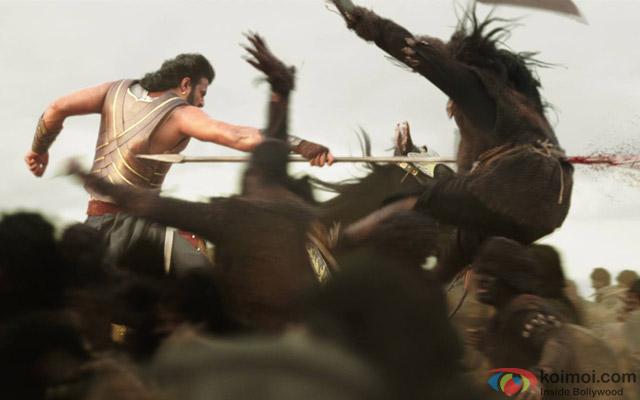 Prabhas in a still from movie 'Bahubali'
