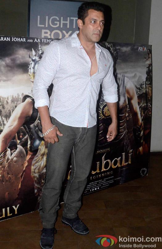 Salman Khan during the screening of 'Bahubali- the Beginning'