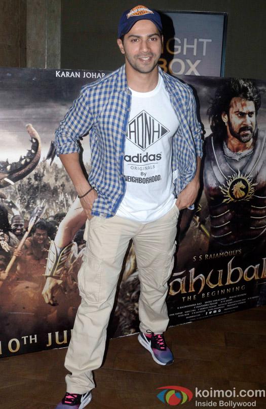 Varun Dhawan during the screening of 'Bahubali- the Beginning'