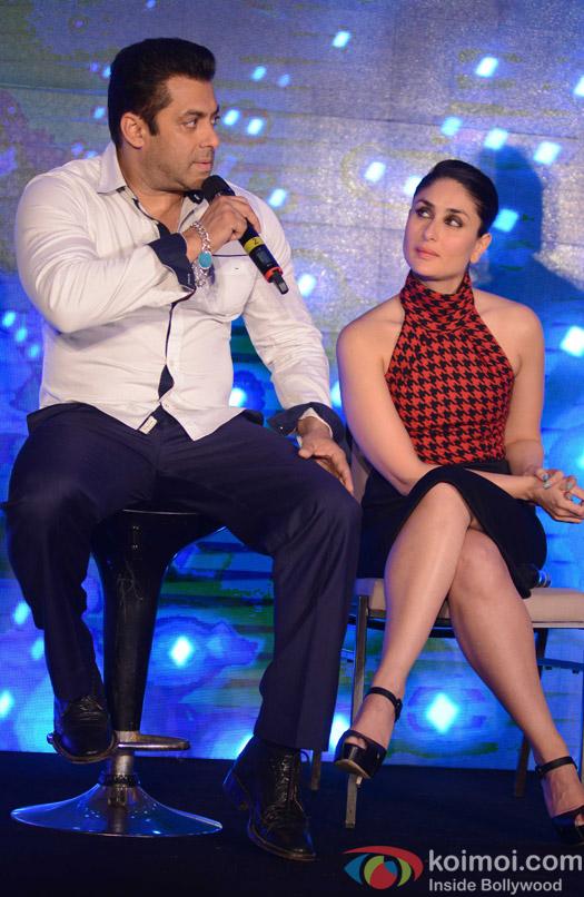 Salman Khan and Kareena Kapoor Khan during the promotion of movie Bajrangi Bhaijaan