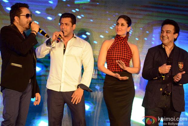 Mika Singh, Salman Khan, Kareena Kapoor and Adnan Sami during the promotion of movie Bajrangi Bhaijaan