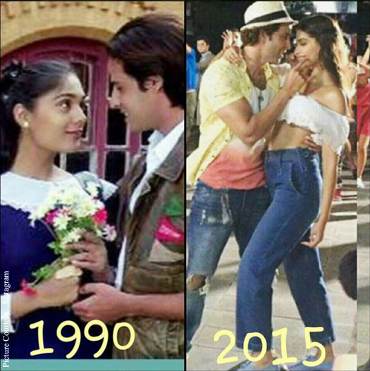 Aashiqui featuring Rahul Roy and Anu Aggarwal and the new version of the song features Hrithik Roshan and Sonam Kapoor.