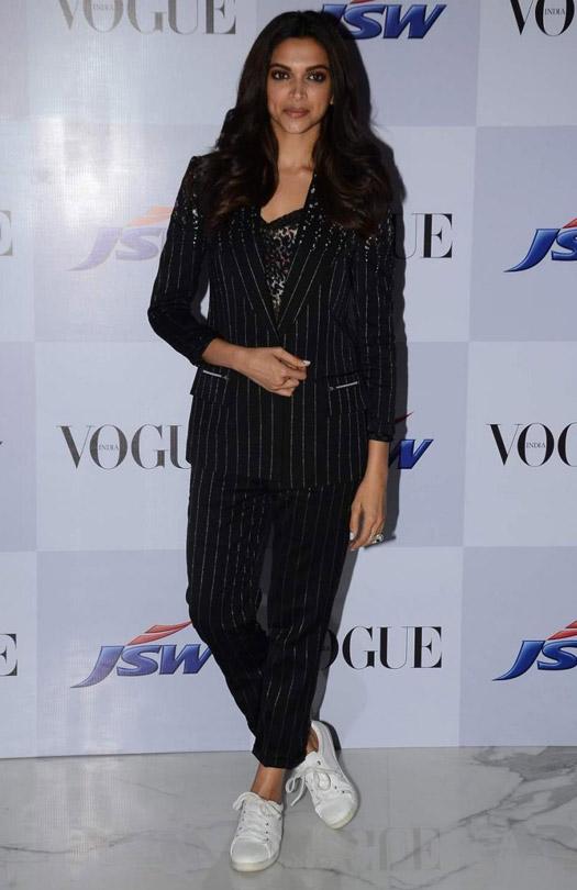 Classy : Deepika Padukone In Pin-Stripe Heumn Suit