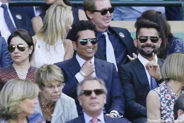 Sachin Tendulkar, Anjali & Virat Kohli At Wimbledon