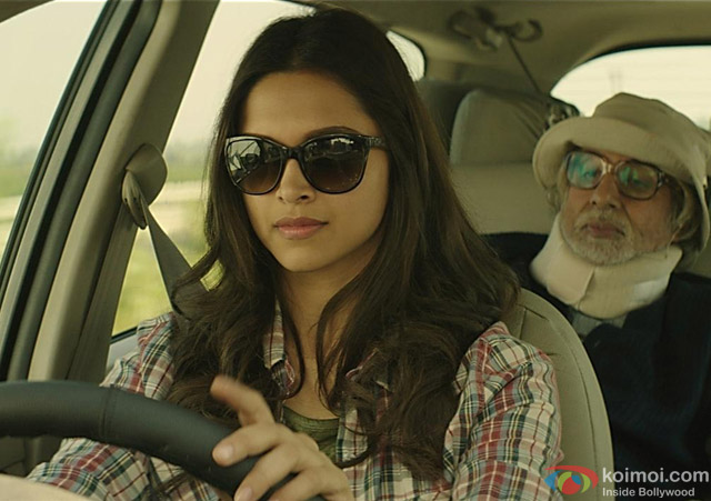 Deepika Padukone & Amitabh Bachchan in a still from movie 'Piku'