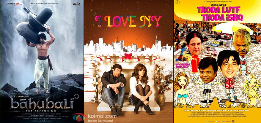 Bahubali (Hindi), I Love NY and Thoda Lutf Thoda Ishq movie posters