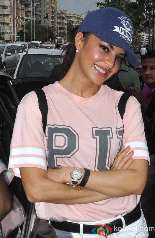 Jacqueline Fernandes during the launch of Dino Moreas Fitness open gymnasium in Mumbai