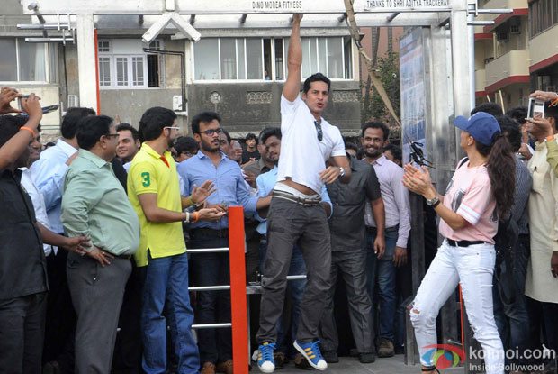 Aditya Thackeray, Dino Morea and Jacqueline Fernandes, during the launch of Dino Moreas Fitness open gymnasium in Mumbai