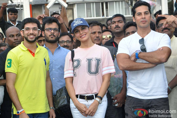 Aditya Thackeray, Jacqueline Fernandes and Dino Morea during the launch of Dino Moreas Fitness open gymnasium in Mumbai