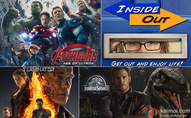 Avengers Age Of Ultron, Inside Out, Terminator Genysis and Jurrassic World movie posters