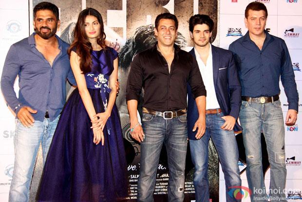 Sunil Shetty, Athiya Shetty, Salman Khan, Sooraj Pancholi and Aditya Pancholi during the first look launch of movie 'Hero'