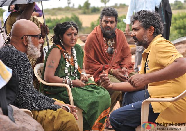 S S Rajamouli on the sets of movie 'Baahubali'
