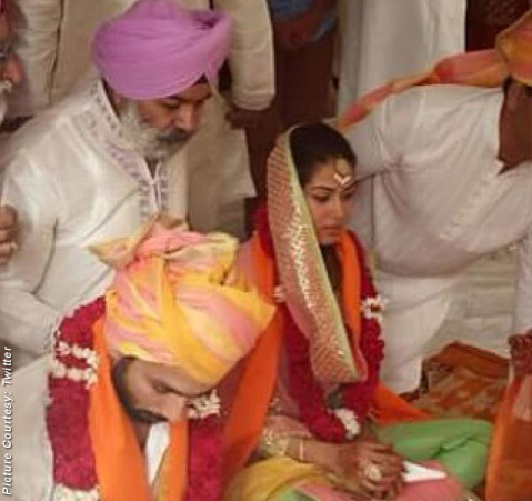 Shahid Kapoor-Mira Rajput during the wedding