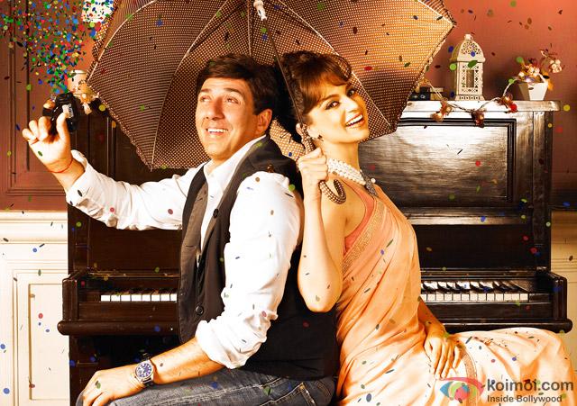 Sunny Deol and Kangana Ranaut in a still from movie 'I Love NY'