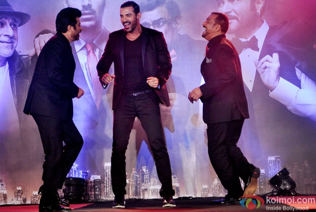 Anil Kapoor, John Abraham and Nana Patekar during the trailer launch of 'Welcome Back'