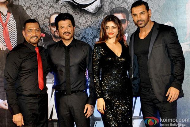 Nana Patekar, Anil Kapoor, Ankita Srivastava and John Abraham during the trailer launch of 'Welcome Back'