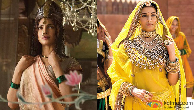 Priyanka Chopra in a still from movie 'Bajirao Mastani' and Aishwarya Rai in a still from movie 'Jodhaa Akbar'