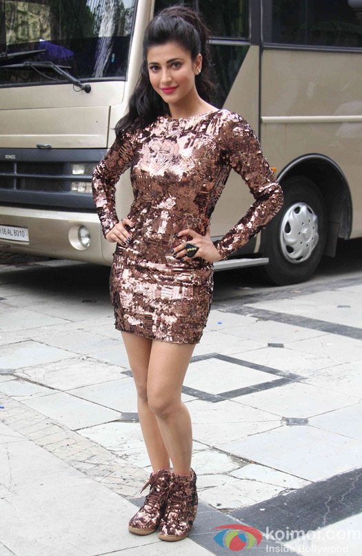 Shruti Haasan during a song shoot for movie 'Welcome Back'