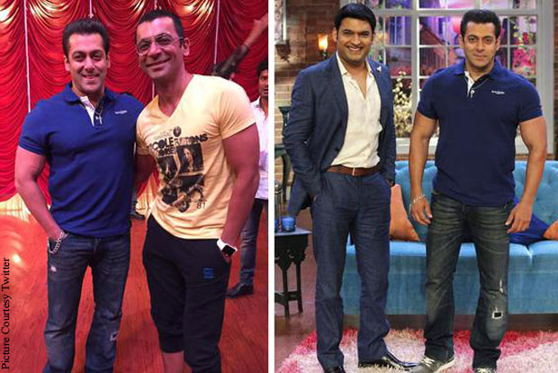 Salman Khan, Sunil Grover and Kapil Sharma duting the promotion of Bajrangi Bhaijaan at Comedy Nights with Kapil