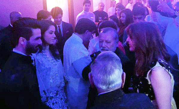 Shahid Kapoor, Mira Rajput and Pankaj Kapur during the reception