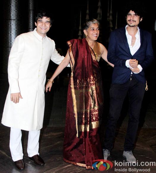 Vivaan Shah, Ratna Pathak and Imaad Shah at the Shahid Kapoor-Mira Rajput's Wedding Reception in Mumbai