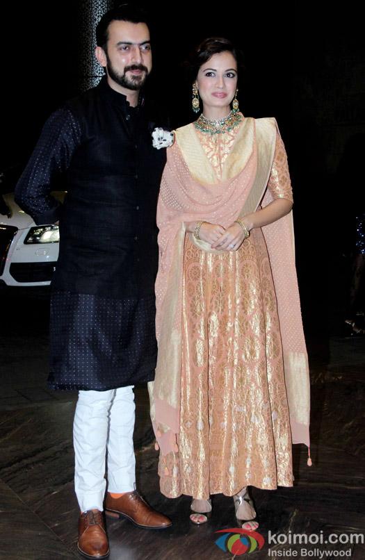 Sahil Sangha and Diya Mirza at the Shahid Kapoor-Mira Rajput's Wedding Reception in Mumbai