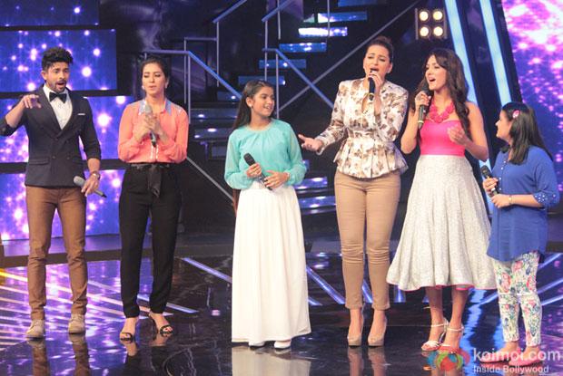 Hussain Kuwajerwala, Asha Negi, Sonakshi Sinha and Neeti Mohan on the Sets of Indian Idol Junior