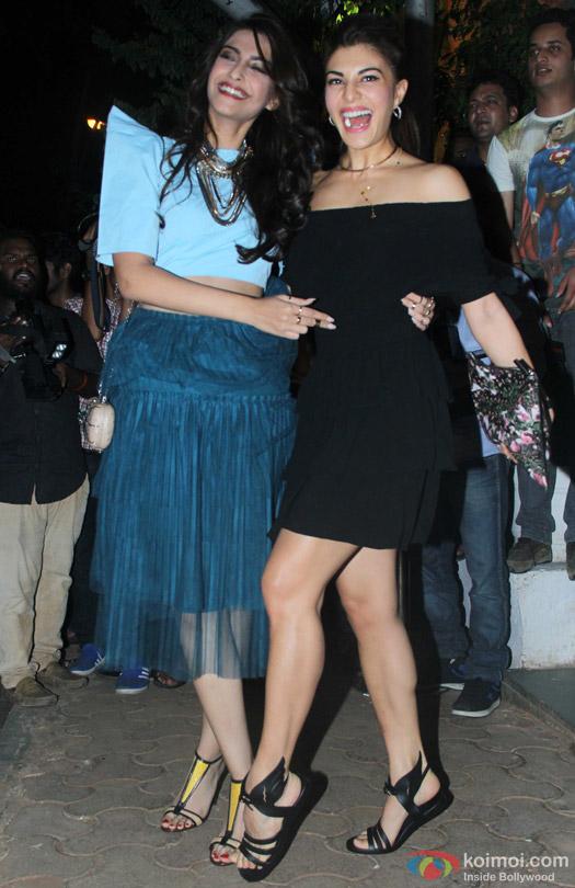 Sonam Kapoor and Jacqueline Fernandez during 'ABCD 2' Success Bash