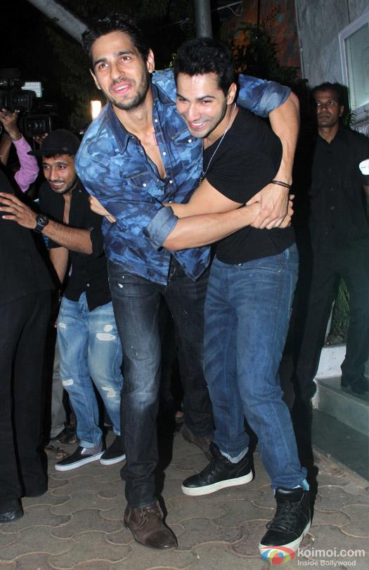 Sidharth Malhotra and Varun Dhawan during the 'ABCD 2' Success Bash