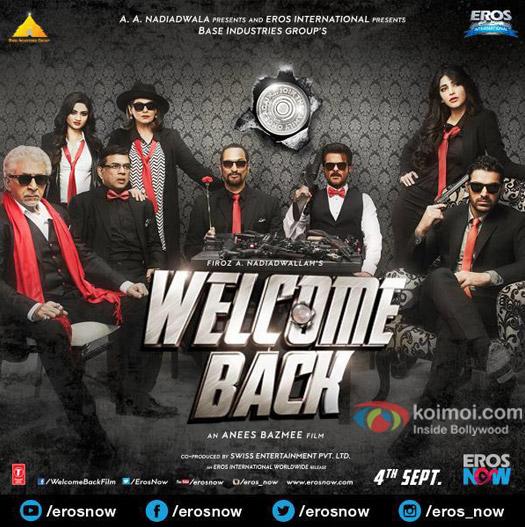 Naseeruddin Shah, Paresh Rawal, Dimple Kapadia, Nana Patekar, Anil Kapoor,  Shruti Hassan and John Abraham in a 'Welcome Back' movie poster