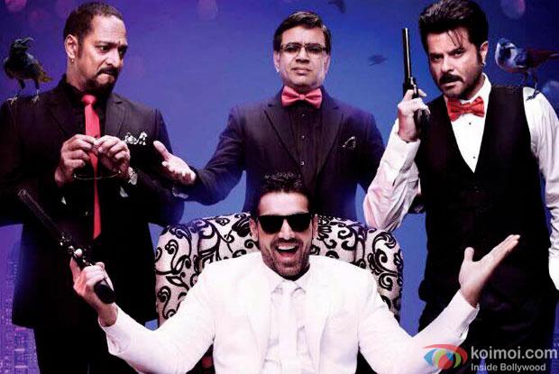Nana Patekar,  John Abraham, Paresh Rawal and Anil Kapoor in a still from movie 'Welcome Back'