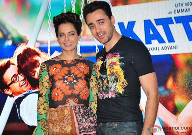 Kangana Ranaut and Imran Khan during the promotion of movie 'Katti Batti' at MMK College