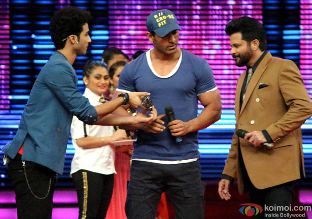 John Abraham and Anil Kapoor during the promotion of movie 'Welcome Back' on the sets of 'Dance Plus'