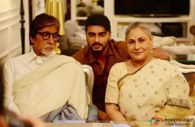 Amitabh Bachchan, Arjun Kapoor and Jaya Bachchan on the sets of movie 'Ki And Ka'