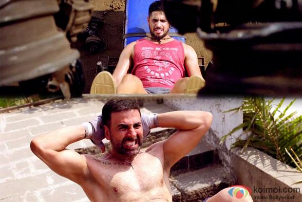 Sidharth Malhotra and Akshay Kumar in a still from movie 'Brothers'
