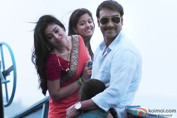 Shriya Saran and Ajay Devgn in a still from 'Drishyam'