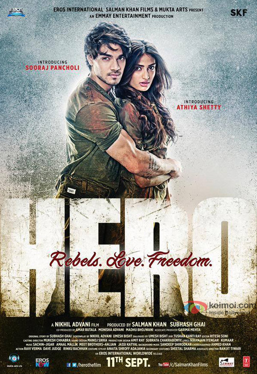 Sooraj Pancholi and Athiya Shetty starrer 'Hero' Movie Poster 1