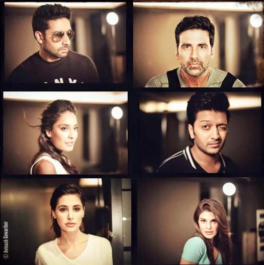 Abhishek Bachchan, Akshay Kumar, Lisa Haydon, Riteish Deshmukh, Nargis Fakhri and Jacqueline Fernandez on the sets of movie 'Housefull 3'
