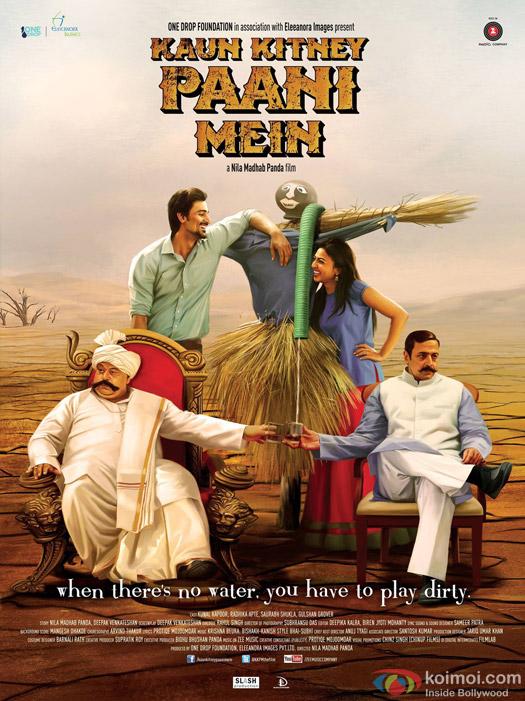 Kunal Kapoor, Radhika Apte, Saurabh Shukla and Gulshan Grover in a 'Kaun Kitney Paani Mein' Movie Poster