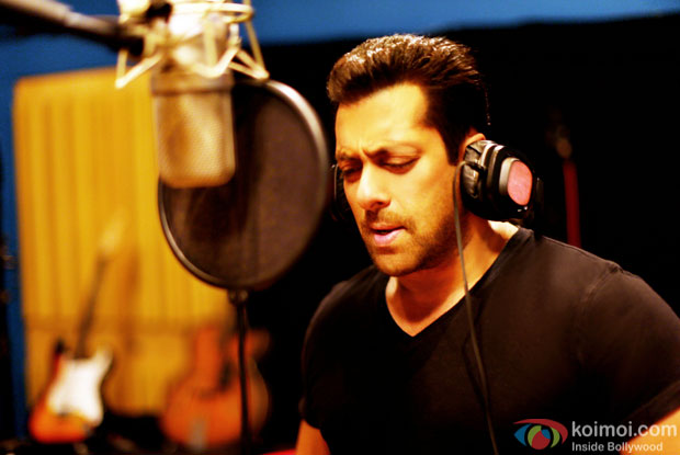 Salman Khan at the recording studio singing the love song 'Main Hoon Tera Hero'